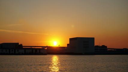東京湾のサンセット インターバル撮影
