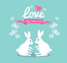 Cute couple rabbit in love.Valentine's Day Cards