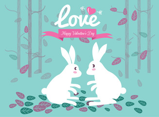 Cute couple rabbits in the forest.Valentine's Day