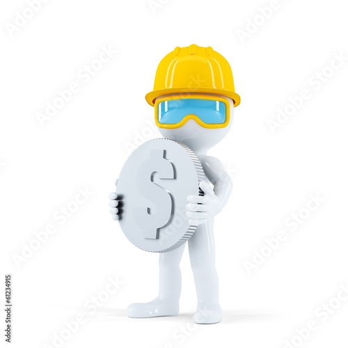 Construction worker with coin