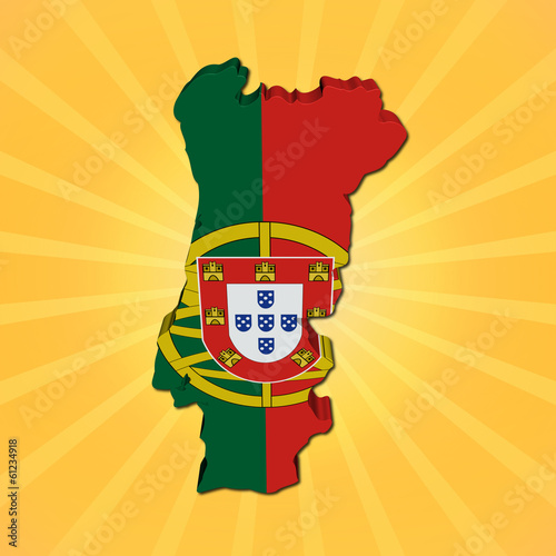 Portugal map flag on sunburst illustration