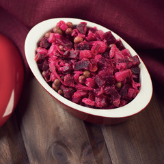 Russian traditional beetroot salad, above view