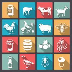 icons of farm animals in flat design