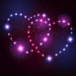 Two love heart from beautiful bright stars