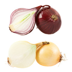 Cut red and white onion composition
