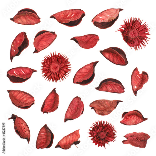 Red dried flower leaves potpourri