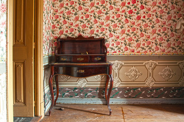 Antique wooden desk, furniture, in an old house