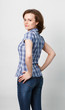 girl in a plaid shirt and jeans