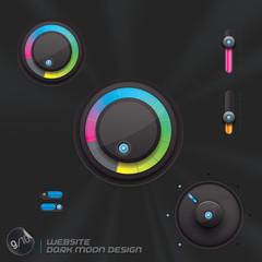 Website Dark Moon Design, Template, Buttons, Sign