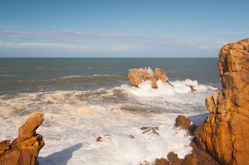 Big waves breaking against the rocks, Urros, Cantabria, Spain