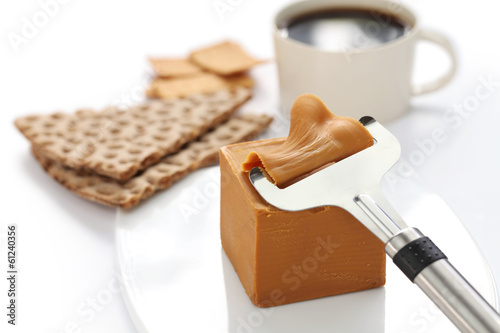 Scandinavian brown cheese, crispy bread and coffee
