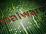 Privacy concept: Malware on circuit board background poster