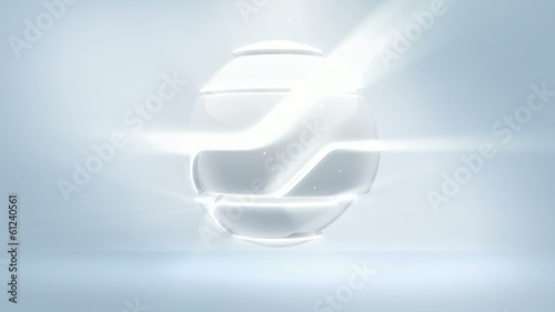 Sci-Fi Logo Reveal  assembly hi-tech sphere white.