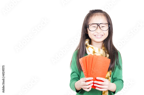Beauty girl showing red envelope