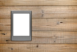 Ereader on wooden background