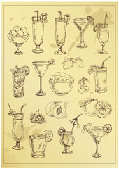 set of hand drawing alcohol coctails and fruit