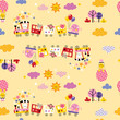 cute animal train kids pattern