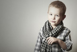 Child.Fashionable Funny little Boy in Scurf.Fashion Children