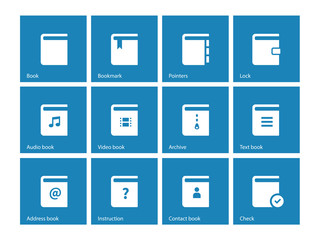 Book icons on blue background.