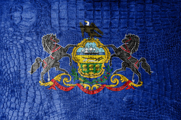 Pennsylvania State Flag painted on luxury crocodile texture
