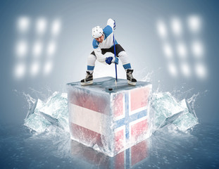 Austria - Norway game.  Face-off player on the ice cube