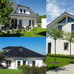weißes Haus mit Terasse