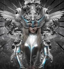 deity, dressed in silver princess, fantasy concept, blonde woman