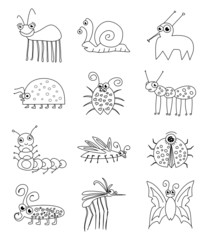 Funny Insect Bugs Doodle Set Vector