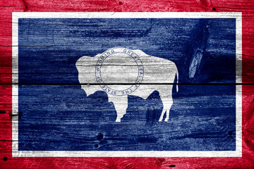 Wyoming State Flag painted on old wood plank texture