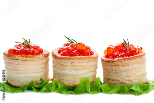 tartlets with caviar , isolated