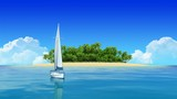 Yacht sailing with tropical island on background. Travel Intro.