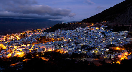 Panorama of blue medina of Chefchaouen, Morocco