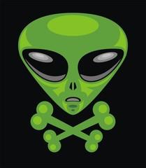 Alien head & Crossbones .