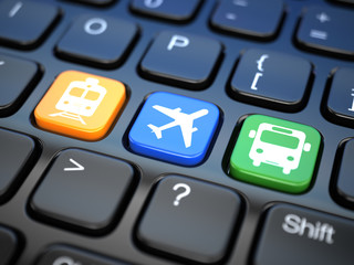 Online booking  tickets to train, bus or airplane. Laptop keyboa
