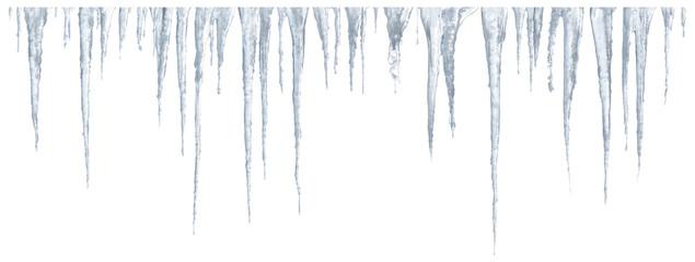 Icicles set on white background
