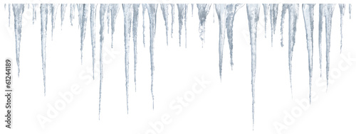 Foto op Canvas Gletsjers Icicles set on white background