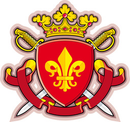 Shield, Ribbons, Crown ,Heraldry fleur-de-lys