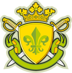 Shield, Ribbons, Crown ,Heraldry fleur-de-lys
