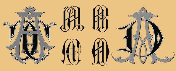 Vintage monogram AA,AB,AC,AD tattoo