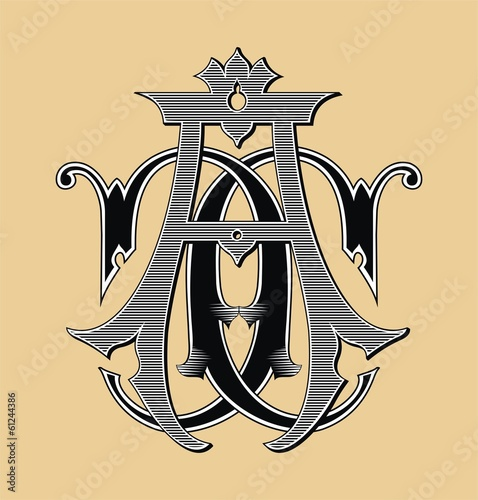 Vintage monogram AC tattoo