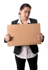 busy business woman working on her laptop blank sign