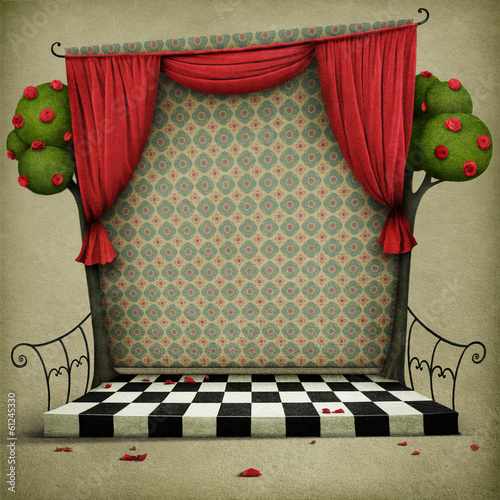 Room with red curtains and vintage wallpaper