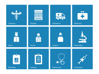 Hospital icons on blue background.