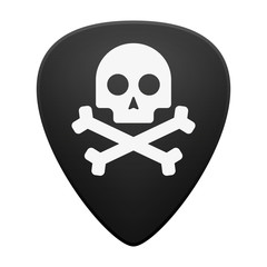 Guitar pick with a skull