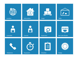 Logistics icons on blue background.