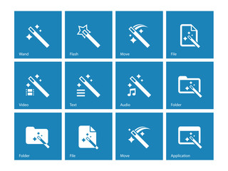 Magician icons isolated on blue background.