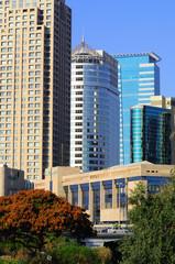 Modern buildings in business area of Tel Aviv. Israel.