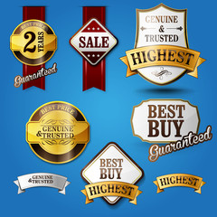badges stikers luxury guarantee gold sale