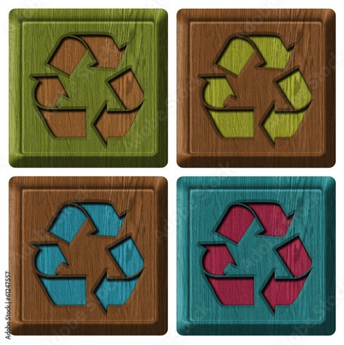 set of wooden labels with recycling symbol isolated on white