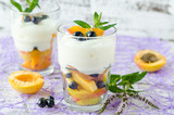 Cream dessert with fruit and berries